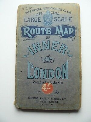 The Royal Automobile Club Large Scale Route Map of Inner London - Car