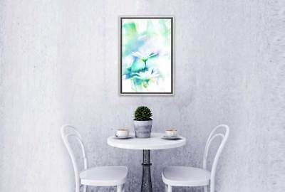 Home Decor Abstract Watercolour Daisy   Flower Wall Art Print Stretched Frame...