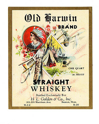 1900s H. L. GOLDEN CO, BOSTON, MASSACHUSETTS OLD HARWIN WHISKEY INDIAN LABEL