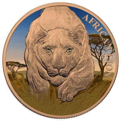 Republic of Chad 2017 5000 CFA AFRICAN LION - Lion Day 1oz Silver Coin
