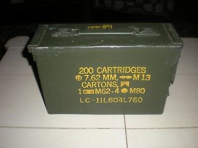 Authentic Vintage Metal Green US Military 7.62 mm M13 Ammo Heavy Bullet Box Case