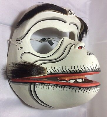 Vintage Carved Wood Monkey Skull Performance Mask Indonesia 2 Piece Teeth Sanur