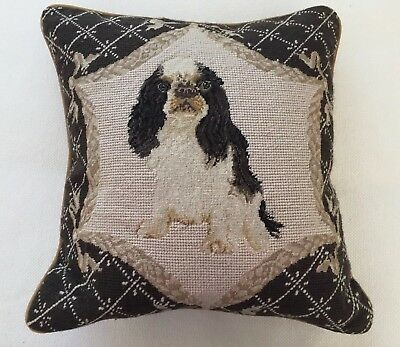 """King Charles Spaniel Needlepoint Pillow 15"""" x 15"""" (1 of 2 Listed)"""