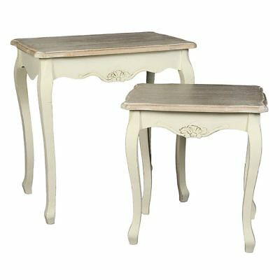 G1231: Two Classic Nesting Tables in Country House Style, 2 Antique Cream White