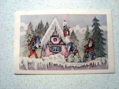 Vintage French Postcard By Eres ( Elves In Winter Scene )