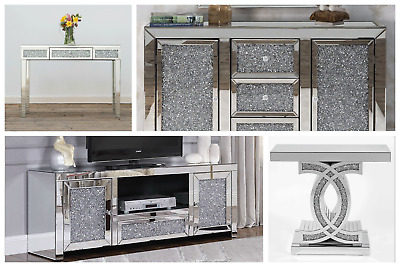 Mirrored 3 Drawer TV Media Unit Stand Glass Cabinet Antique Silver Shabby Chic