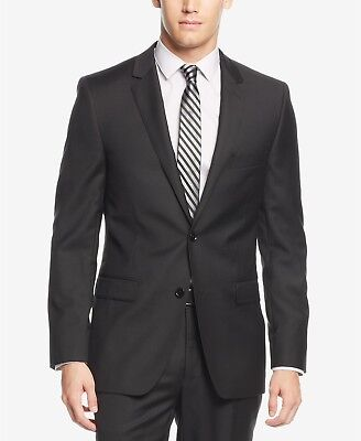 $650 Dkny 44s Men'S Extra-Slim-Fit Black Blazer Sport Coat 2-Button Suit Jacket