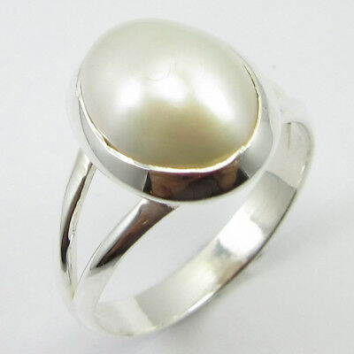 925 Solid Silver Fashionable Gift for Sister Jewelry Pearl Ring Size 7.5