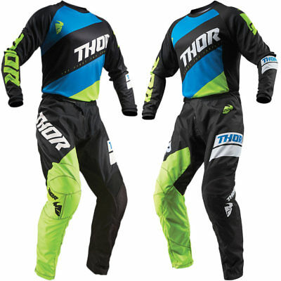 Thor 2019 Sector Shear MX Jersey/Pant Bundle - Black/Fluo Yellow/Blue