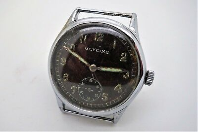 Glycine German Military D marked WW2 watch Lovely Tropical Brown Dial