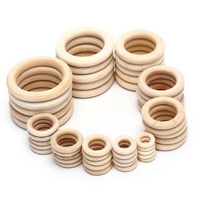 1Bag Natural Wood Circles Beads Wooden Ring DIY Jewelry Making Crafts FEGH