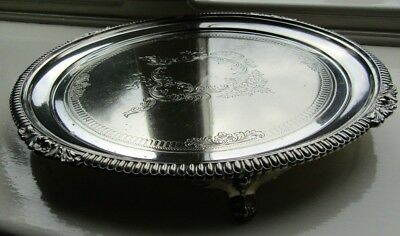 Superb Antique *1871* Victorian Silver Plated & Chased, Footed Drinks Tray