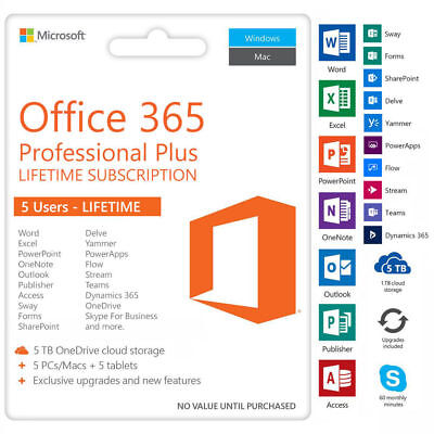 Microsoft Office 365 2016 2019 Pro plu PC/Mac/Mobil /5TB User INSTANT DELIVERY