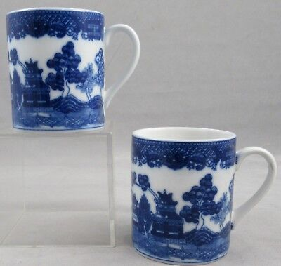 2 Blue Willow 9 Ounce Mugs Unmarked On The Bottom Excellent, Unused