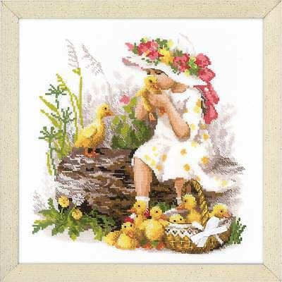 "Counted Cross Stitch Kit RIOLIS 1781 - ""Girl with Ducklings"""