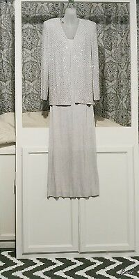 Alex Evenings Silver Mother Of The Bride  2 Piece Gown Size 10