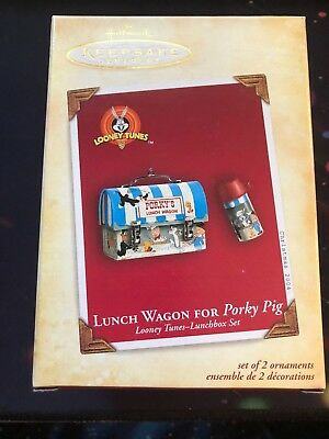 2004 Lunch Wagon For Porky Pig Looney Tunes Lunchbox Set of 2 Hallmark Ornaments