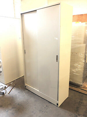 "Tall Metal Lab Storage Cabinet with Sliding Doors 4' wide x 85"" tall x 19"" deep"