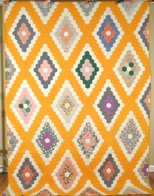 BEAUTIFUL Vintage Field of Diamonds Antique Quilt ~Nice Cheddar Background!
