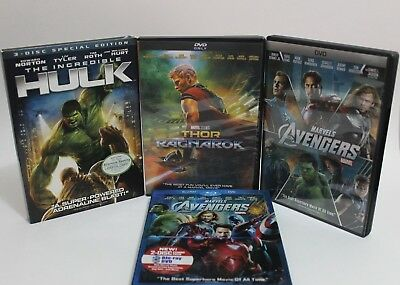 Avengers Marvel Lot  Blu-Ray and DVD, Thor Ragnarok and The Incredible Hulk.