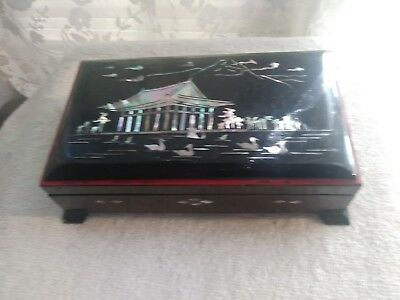 Vintage Black Lacquer (Mother Of Pearl Inlay) Asian Cigarette/ashtray Box