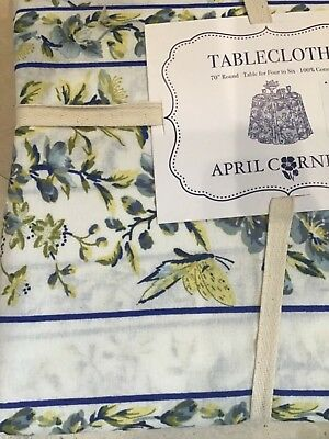 APRIL CORNELL 60 x 84 RECTANGULAR TABLECLOTH YELLOW BLUE PAISLEY SEATS 6-8 NIP