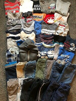 Toddler Boy Clothing Lot 3t Winter Fall Short/long Sleeve Pants Jeans 43 Pieces