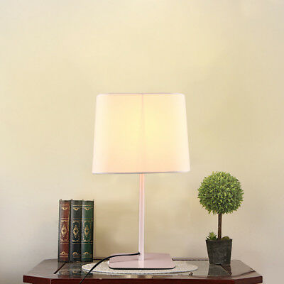 LED Simple Desk Lamp Office Bedroom Warm Bedside Fabric Table Lamp Button Switch