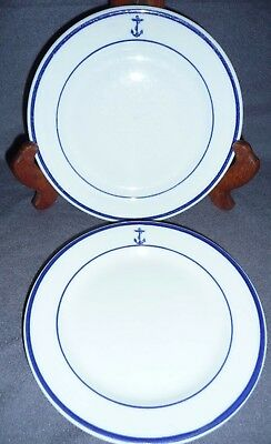 US Navy Fouled Anchor Shenango China Vintage Set of 2 Salad Plates