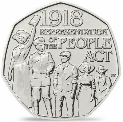 2018 UK 50p Coin 1918 Representation Of The People Act Rare 50 Pence Piece