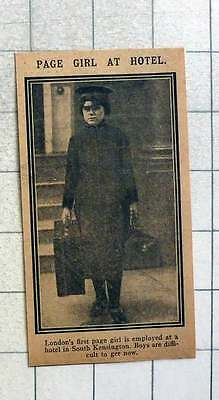 1915 London's First Page Girl Is Employed At A Hotel In South Kensington