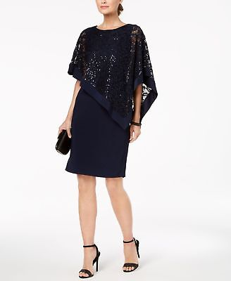 c08f8156475d8  210 R M RICHARDS Women s BLUE SEQUINED LACE PONCHO PULLOVER SHIFT DRESS  SIZE 10