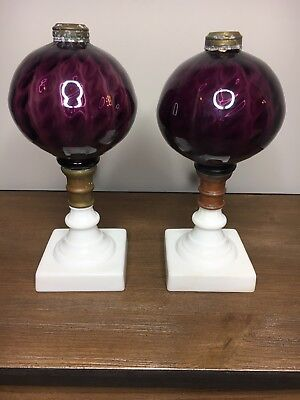 RARE Antique Pair of Amethyst and Milk Glass Whale Oil Lamps