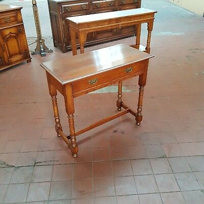 Antique/reproduction Solid Oak Console/hall Table Serving/telephone/lamp Table