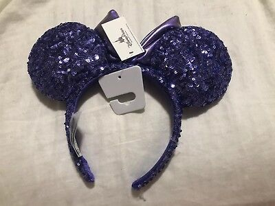 NEW Disney Parks Purple Bow Sequin Minnie Ears Headband