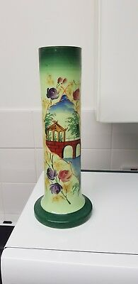 Antique Victorian  Green Opaline Hand Painted Art Glass Vase