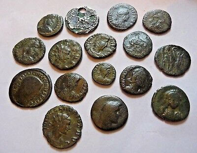 lot of 16 Roman bronze &  Antoninianus Follis etc. & plated Tiberius denarius