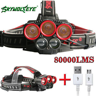 80000LM Hiking Headlamp T6LED Rechargeable 18650 USB Head Light Zoom Torch Lamp