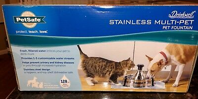 PetSafe Drinkwell 360 Pet Water Fountain, 128oz. Water Capacity, Stainless Steel
