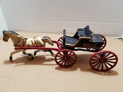 Antique/Vintage 2 Piece Cast Iron Horse Drawn Fire Truck Collectible Toy