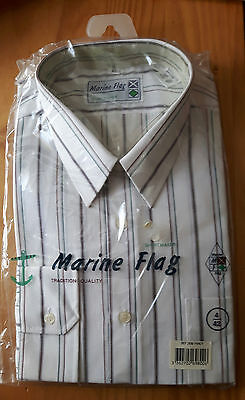 Chemise Homme Marine Flag Taille 42 Manches Longues Neuve Blanche A Rayures 9c690a599ab7