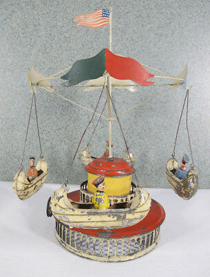 Antique Muller & Kadeder Boat Carousel LIVE STEAM Engine Tin Articulated Toy yqz