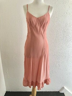 VTG 30s 40s Full Slip FRUIT OF THE LOOM Peach Acetate SZ XS