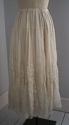 Re-styled antique silk and lace skirt.