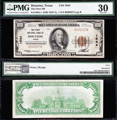 Awesome *SCARCE* Bold Choice VF++ 1929 $100 HOUSTON, TX National Note! PMG 30!