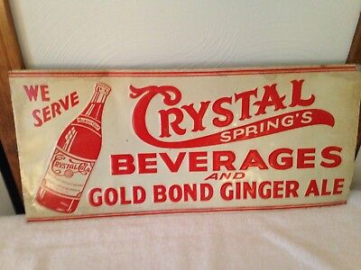 Original Embossed Crystal Springs Beverages Thin Thin Sign 1930's Auburn, Me Vgc