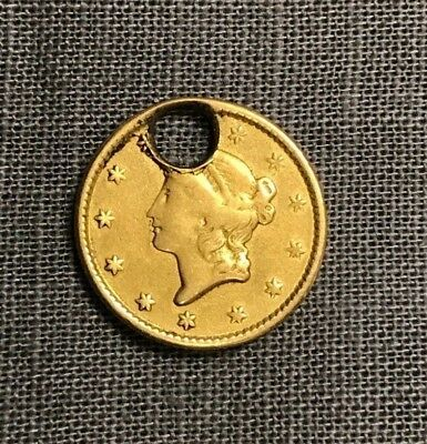 1849 $1 U.S. gold Coin (holed)