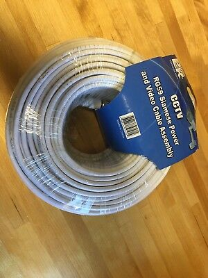 BK Siamese RG59 CCTV BNC Power Video Survaillance Camera Cable 100 Ft- White