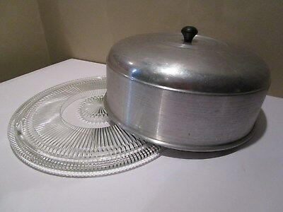 VINTAGE ALUMINUM CAKE Carrier With GLASS PLATE
