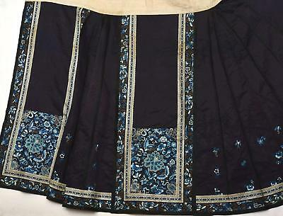 1930's Chinese Silk Embroidery Forbidden Stitches Lady Black Skirt Butterfly